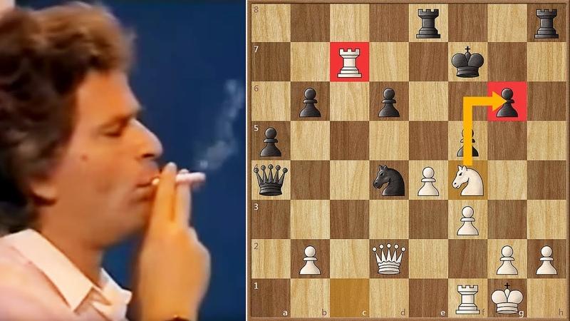 Spassky Lights a Cigarette after Blundering a Rook to Karpov