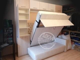 подъемная кровать с диваном, оригинальная конструкция шкаф-кровать-дон