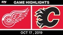 NHL Highlights | Red Wings vs Flames – Oct 17 2019
