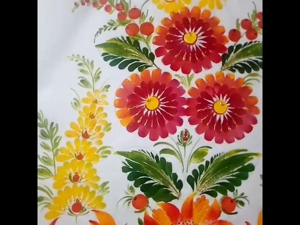 Класичний Петриківський розпис по тканині