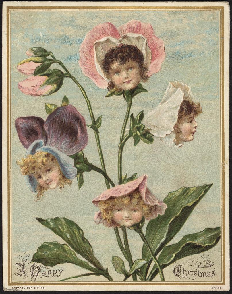 Подборка странных рождественских открыток Викторианской эпохи.