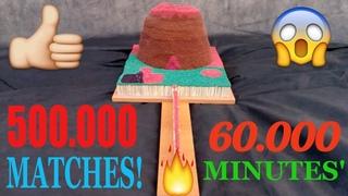 ВУЛКАН из СПИЧЕК. Цепная Реакция, Огненное Домино, 500,000 Спичек, 1000 ЧАСОВ