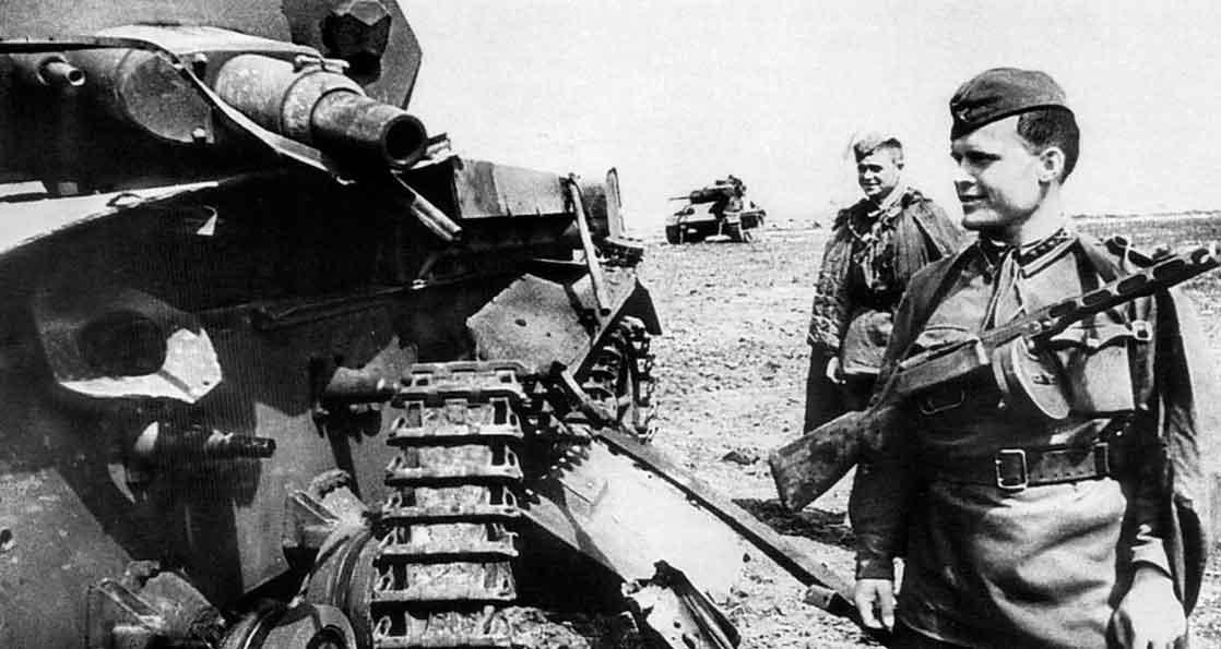 Герой войны и немецкие танки