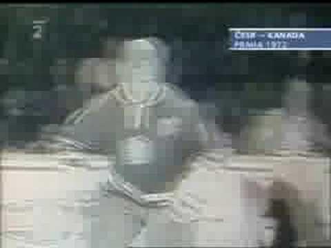 Bobby Clarke attacks Frantisek Pospisil in 1972