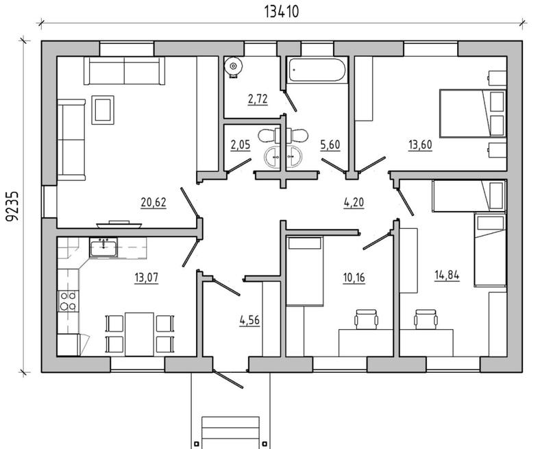 Одноэтажный дом 100кв.м с тремя спальнями Цена: 4,5 млн Тел:+79092079911