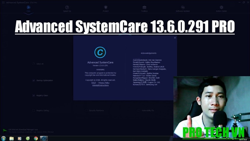 The latest Advanced SystemCare Pro 13.6.0.291 upgrade (PRO TECH VN)