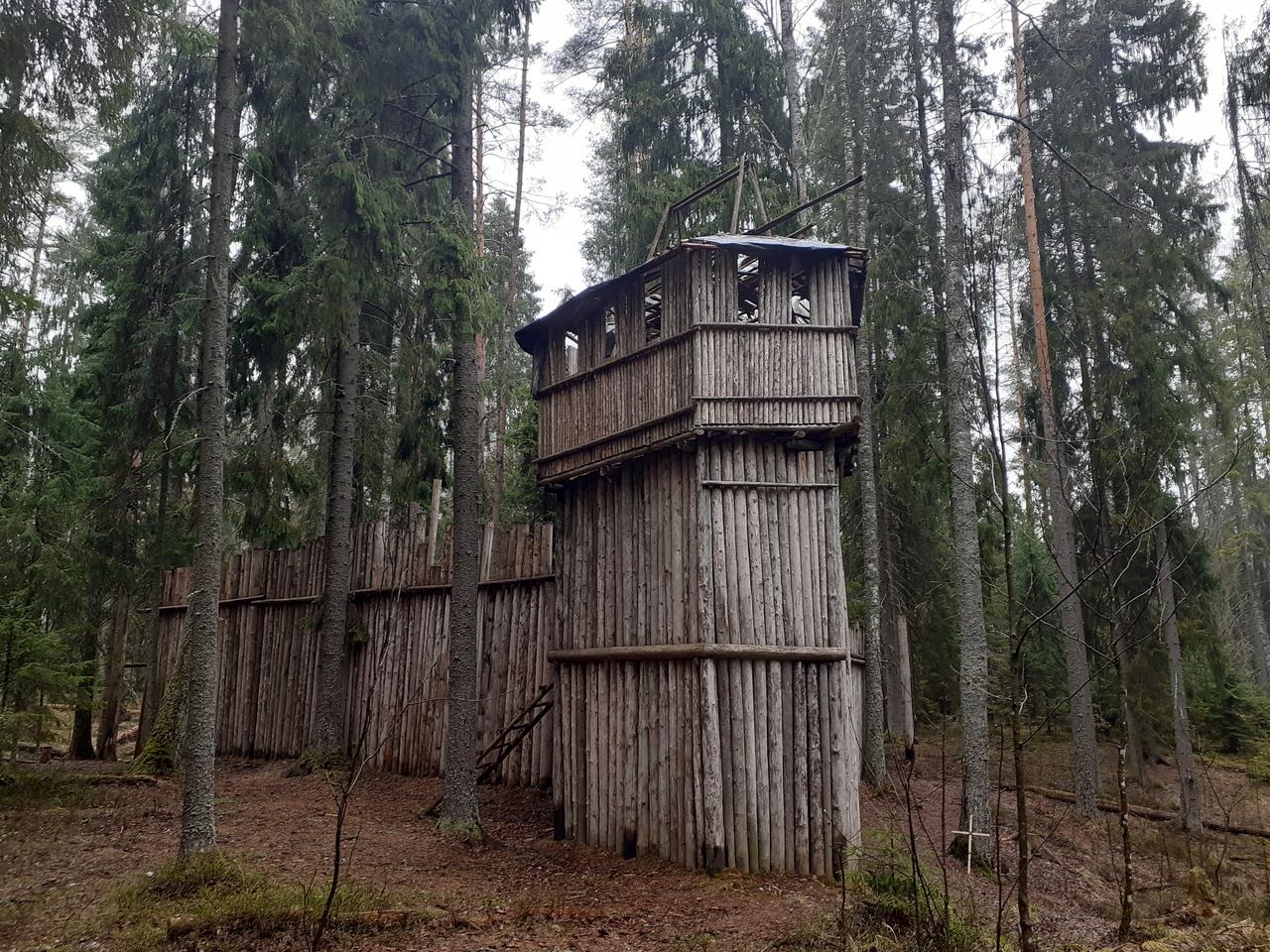 Лемболово. Деревянная крепость в лесу и красивое озеро.