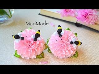 Канзаши Цветы с Пчелками Резинки МК Kanzashi Flowers Hair Bows Flores