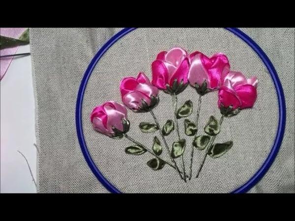 Цветок из атласной ленты Satin ribbon flower
