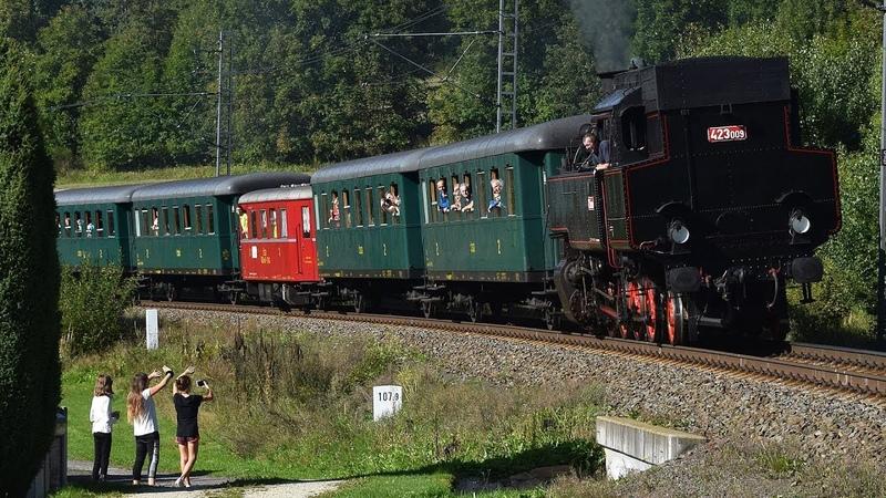 Parní vlak Králický Sněžník a Žabotlam 451.045/046 na trati 024 (RDŽ Česká Třebová) - 14.9.2019