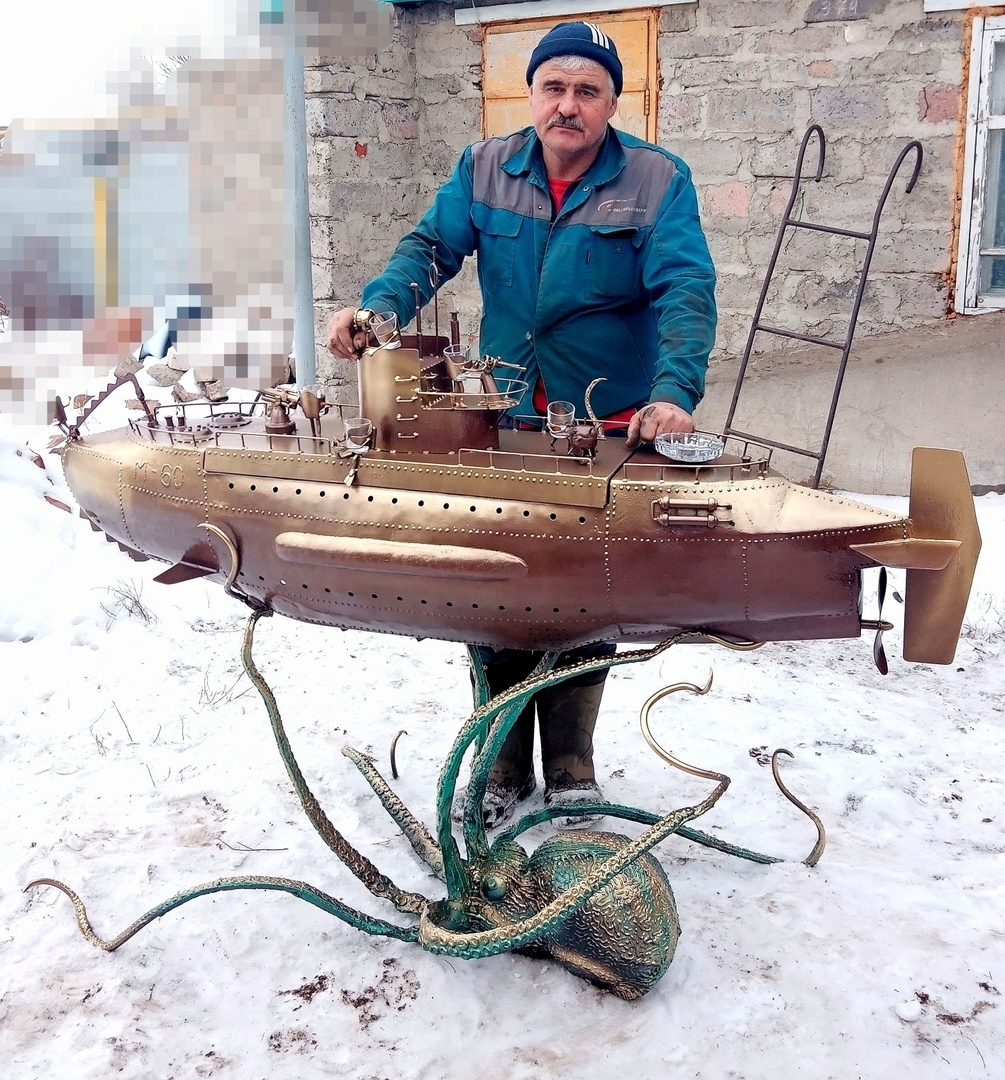 Мангал в виде подводной лодки