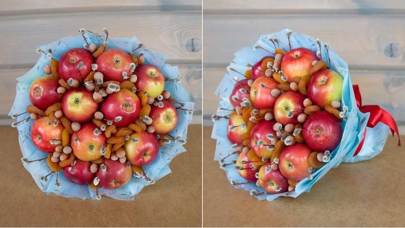 Фруктовый букет из яблок на Вербное Воскресенье Идеи пасхальных поделок