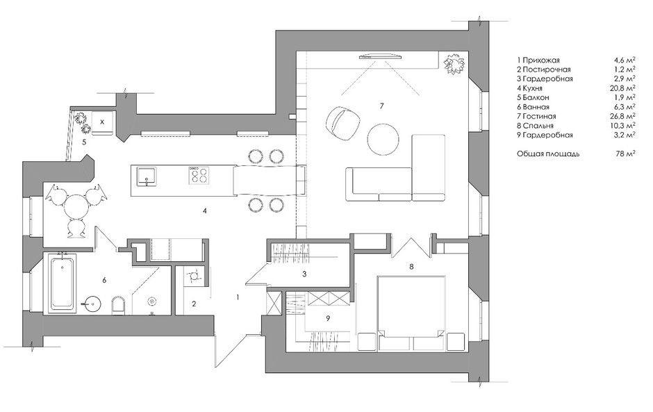 Белая квартира с синими акцентами 78 м² от Алексея Шибаева и Александры Аверкиной