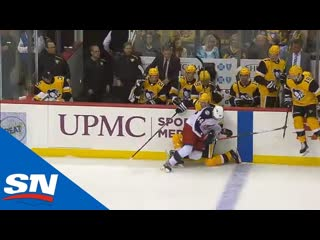 Penguins' evgeni malkin forced to dressing room after awkward hit into boards (720p)