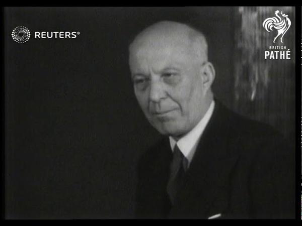 Hugh Dalton discusses Marshall Aid Plan at Socialist conference (1948)