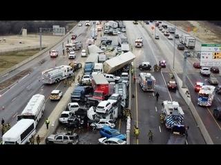 Гололёд стал причиной массового ДТП в Техасе 11 февраля 2021 года