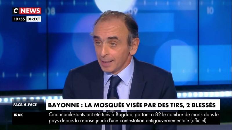 Eric Zemmour sexprime sur les tirs à la mosquée de Bayonne