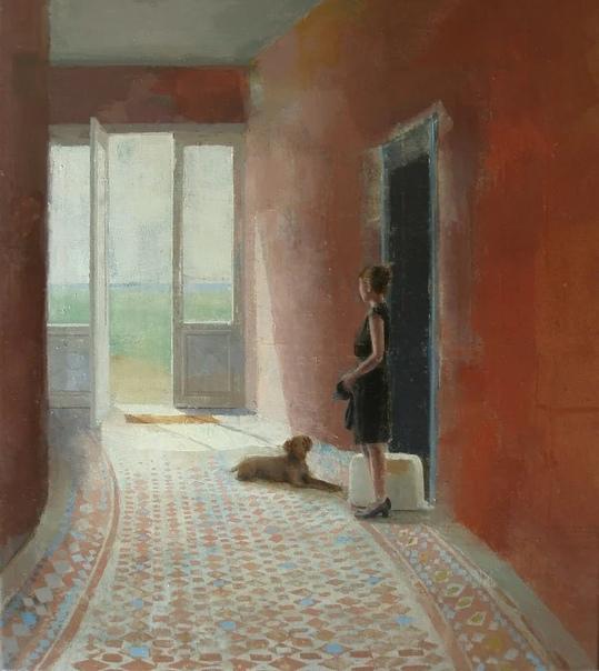 Открытые настежь окна и двери, открывают для зрителя множество реальностей, которые бросают человеку вызов Человек безмолвно созерцает все это, но внешняя безмятежность не должна нас вводить в