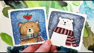 Watercolor Painting Ideas for Beginners/ Mini Monday Madness #15/ Brown bear and Polar Bear