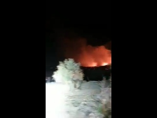 Reported video of large fires and debris seen at location of crash site near Kibris in northern Cyprus