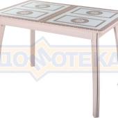 Стол кухонный Танго ПР МД ст-71 07 ВП МД, молочный дуб, греческий орнамент