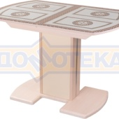 Стол кухонный Танго ПО МД ст-71 05 МД/КР, молочный дуб, греческий орнамент