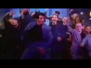 Sylvester Stallone dancing with the Roxbury guys