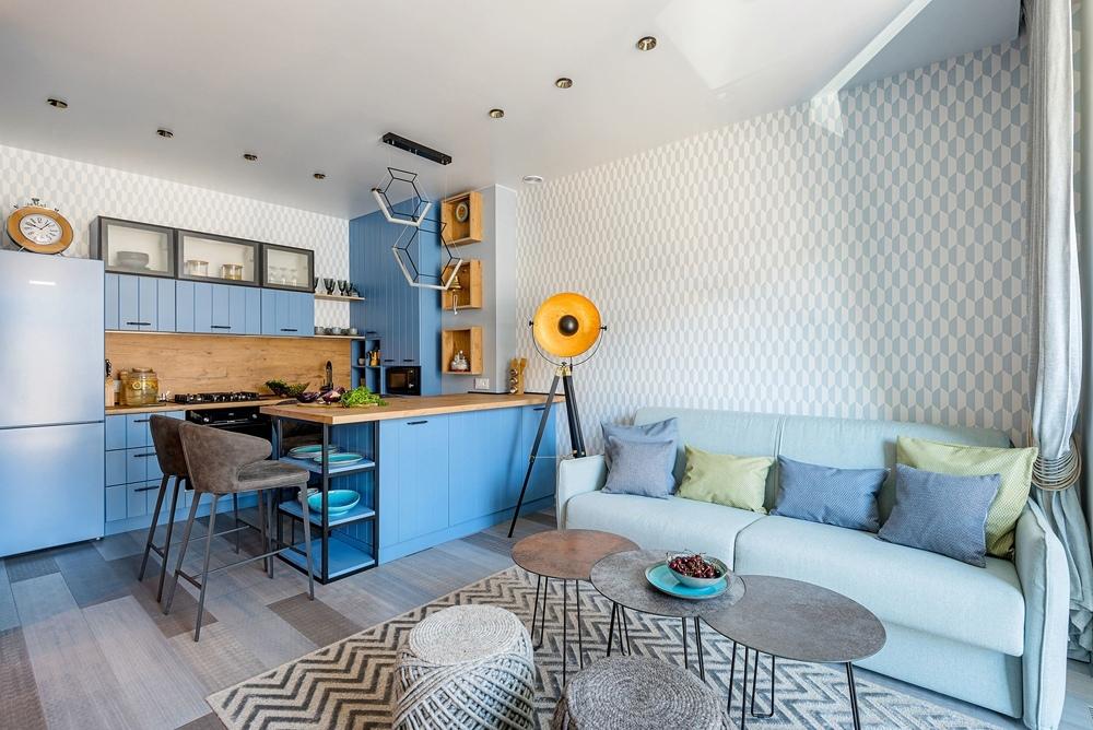 Смотрите интерьеры квартир с кухнями-гостиными в группе Однокомнатные квартиры / дизайн интерьера!