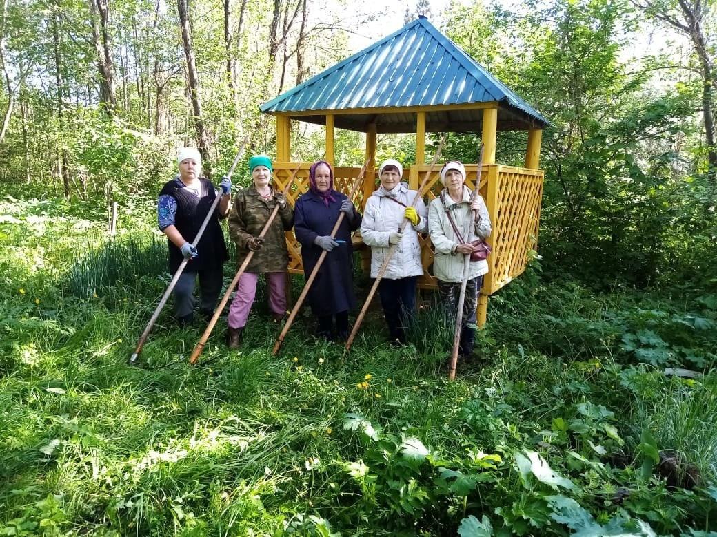 Активные бабушки облагородили родник в деревне Замостные