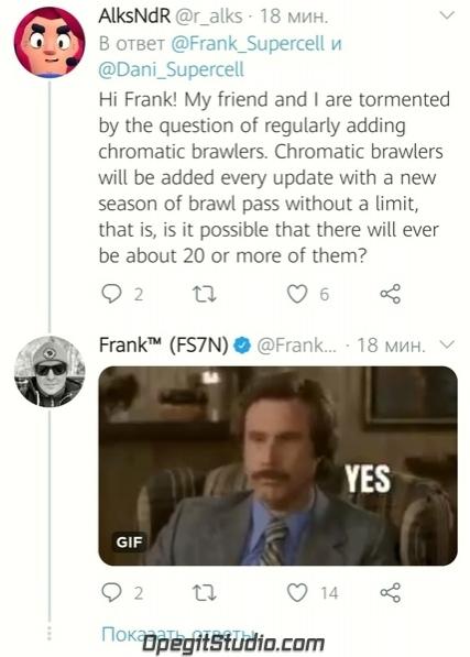 Из твиттера Фрэнка: Q: «Привет, Фрэнк! Моего чумбу