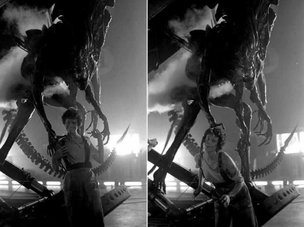 "Сигурни Уивep и королевa чужиx на съемках фильма ""Чужие""."