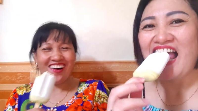 Chị Silent Sea Gia Linh em Cò Gato Hai Linh Hải An ăn kem đậu xanh giải khát