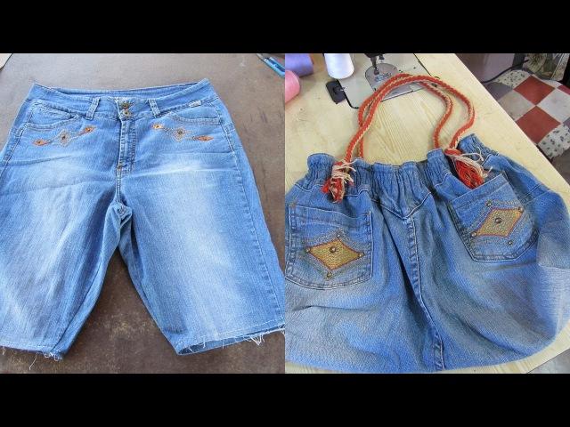 Reciclaje de Jeans BOLSO grande con jeans reciclados
