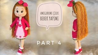 Part 4 | 45cm Amigurumi Çilek Bebek (ELBİSE) ( Dress) (ENG SUBTITLES ON)