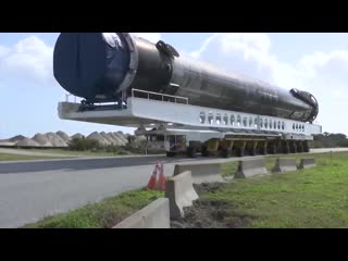 As close as you can get to a rocket thats been to space! @news6wkmg records SpaceX Falcon 9 being transported near NASAKennedy