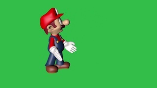 Футажи Зелёный фон Хромакей Весёлый Марио Скачать Анимация 3D для видеомонтажа mario Green screen