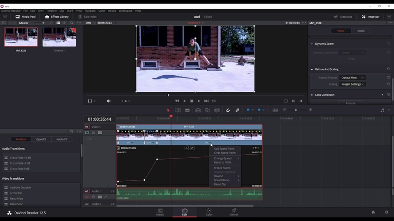 How to Retime Clips And Use Optical flow In Davinci Resolve 12 5